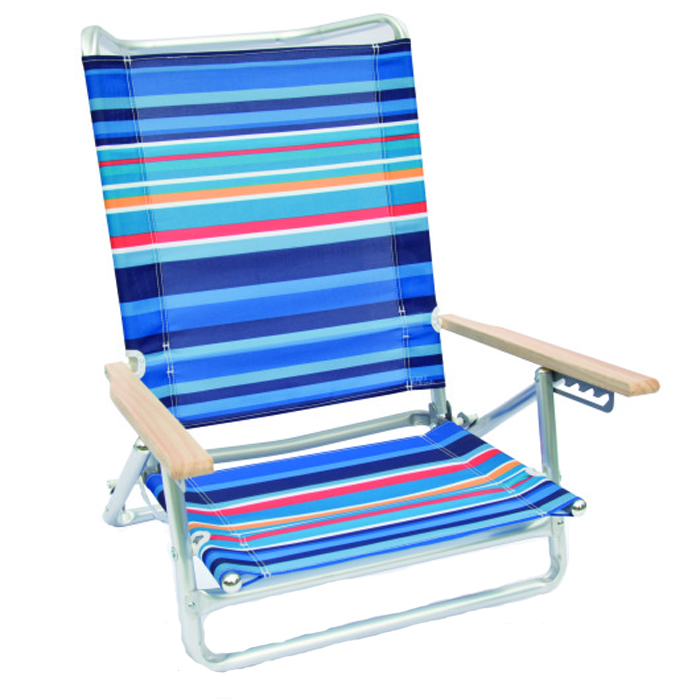 600D stripe fabric single layer 5 position beach chair