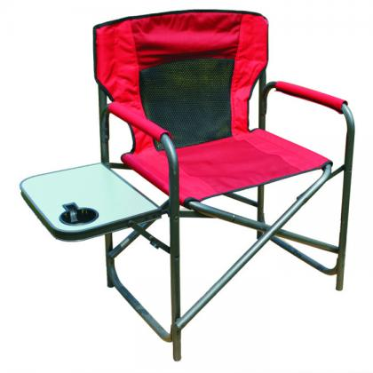 Double layer fabric alu tube director chair with side table