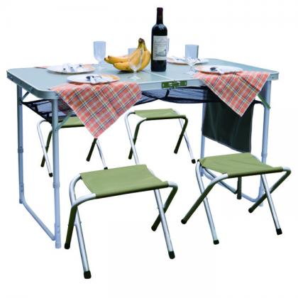 Heat resistant table top alu tube centre folding table set